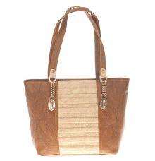 Aliado Faux Leather Brown Coloured Zipper Closure Croc Pattern Tote Bag for Women