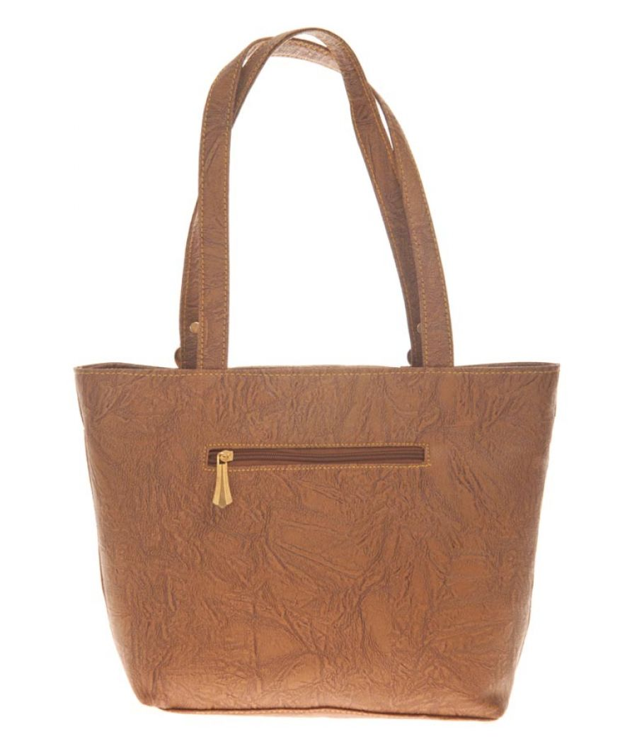 Aliado Faux Leather Brown Coloured Zipper Closure Croc Pattern Tote Bag for Women