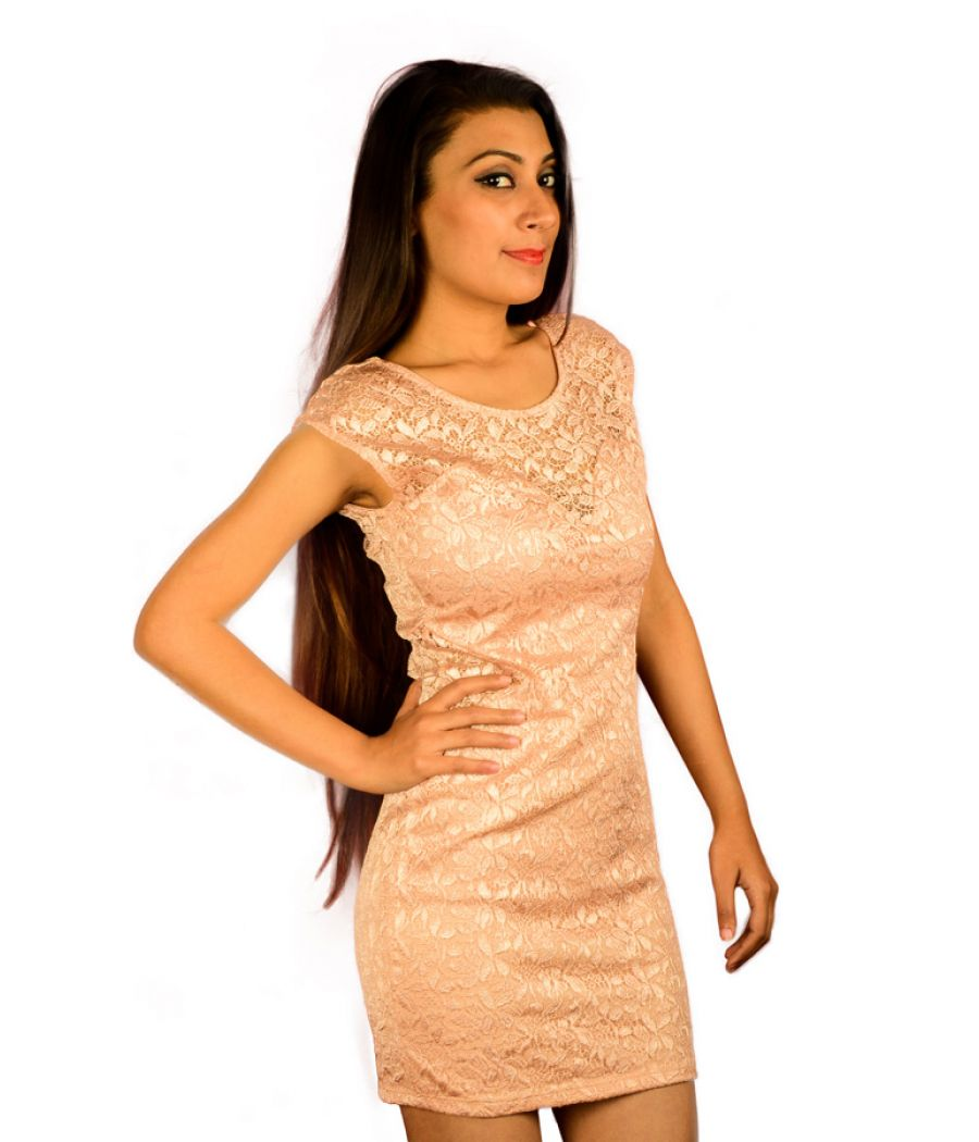 River Island Peach Lace Mini Dress