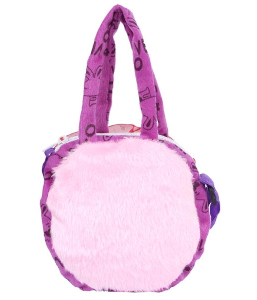 Envie Faux Fur Purple  Coloured Embellished Zipper Closure Bag