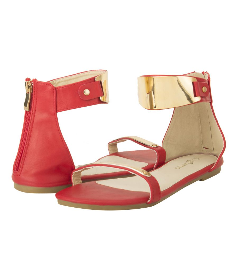 Estatos Faux Leather Open Toe Ankle Strap Metal Decorated Zip Closure Red Flat Sandals for Women