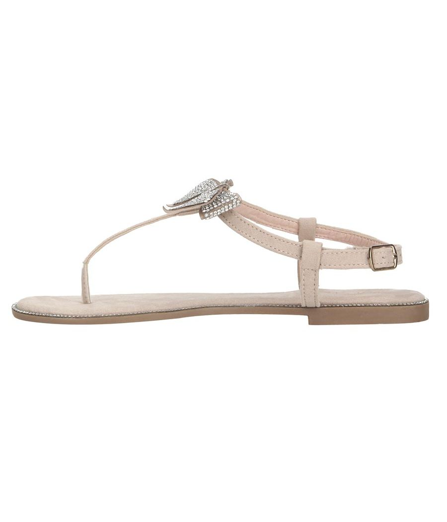 Estatos Leather Nude  Buckle Closure T Strap Open Toe Flat Sandals