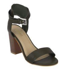 Estatos Leather Olive  Buckle Closure Ankle Strap Open Toe Block Heel Sandals