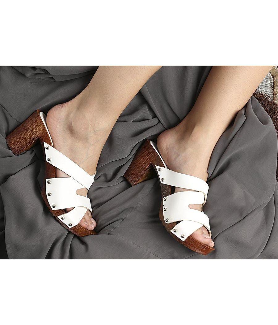 Estatos White Multi Strap Open Toe Block Heels