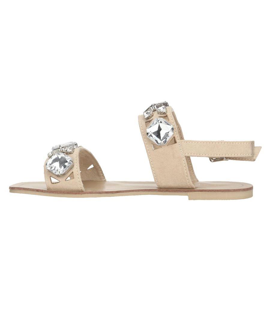 Estatos Suede Beige Twin Strap Buckle Closure Open Toe Flat Sandals