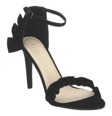 Estatos Suede Black Buckle Closure Ankle Strap Open Toe Pointed Stilettos