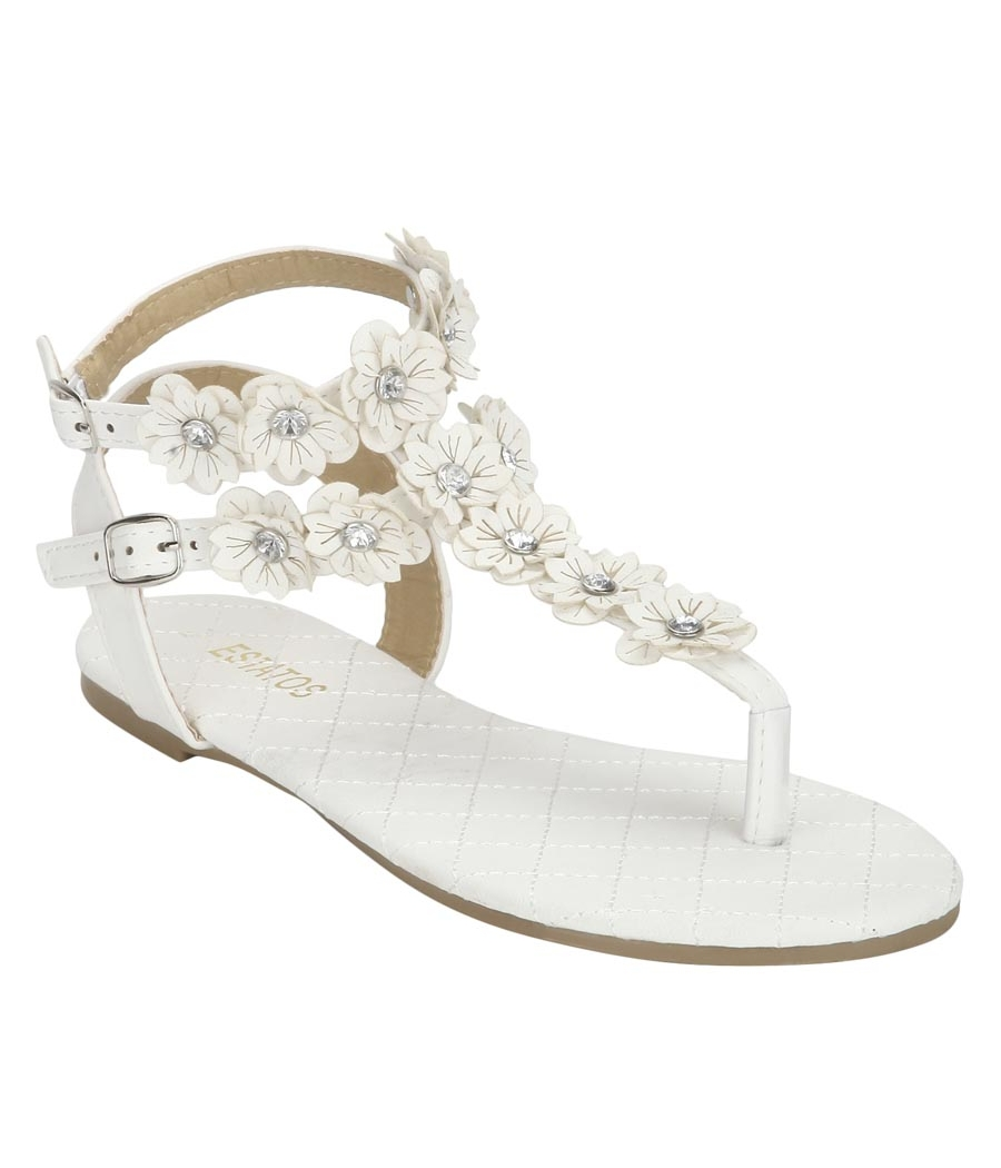 Estatos White Buckle Closure Ankle Strap Open Toe Casual Flat Sandals