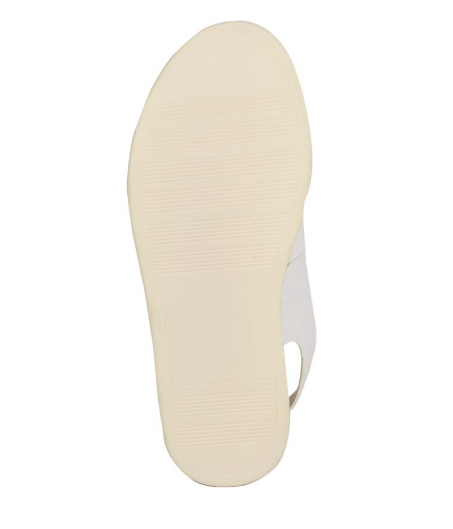 Estatos PU White Coloured Buckle Closure  Multi Strap Platform Sandal