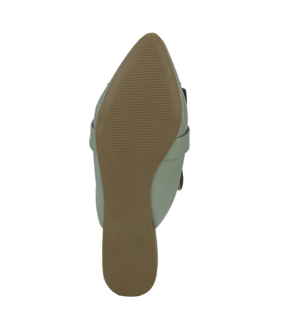 Estatos Leather Sea Green Pointed Toe Flat Mules