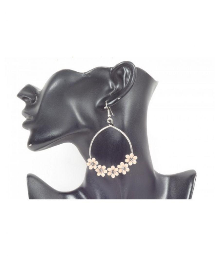 Sanida Metal Hoop Earrings Adorned with Inlaid Peach/Orange Flowers