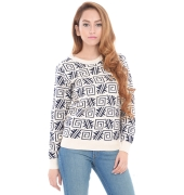 Estance Acrylic Geometric Print Blue and white/cream Sweater