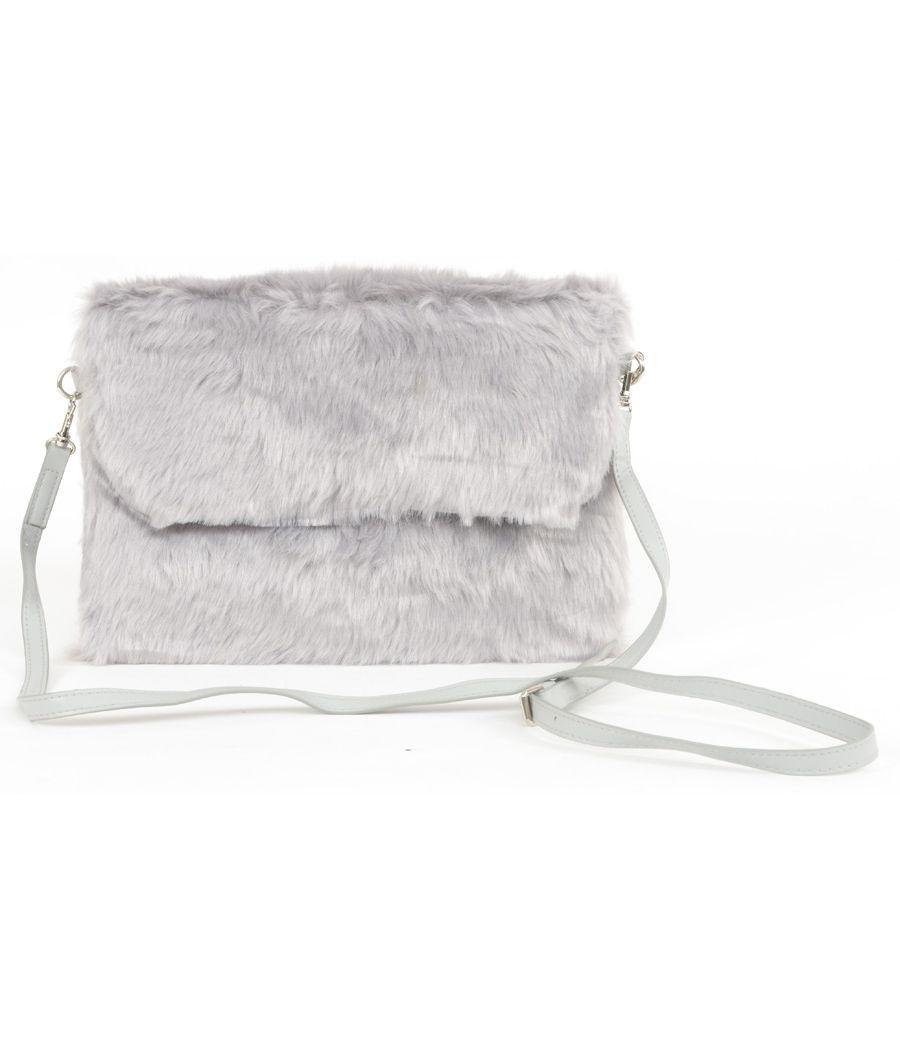 Aliado Faux Fur Grey Sling/Clutch Bag