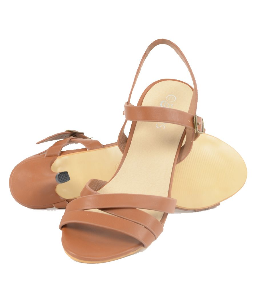 Estatos Matte Leather Strappy Heeled Brown Sandals