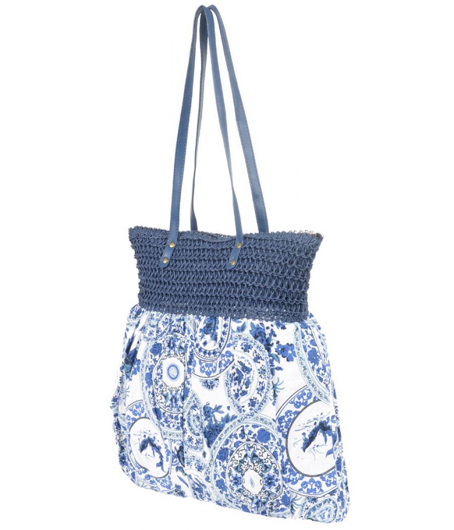Aliado Cotton and jute designer printed Blue Handbag