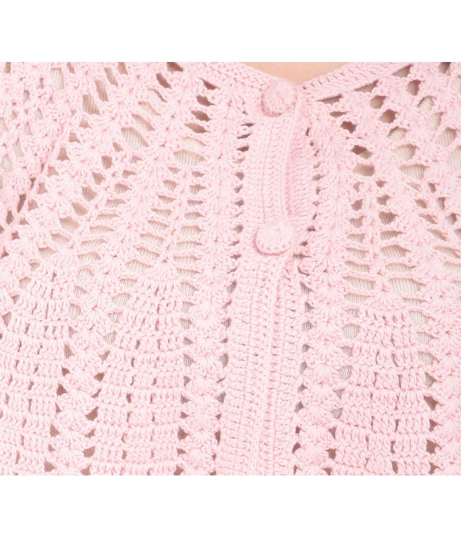 Estance Crochet Knitted Pink Woolen Crop Top