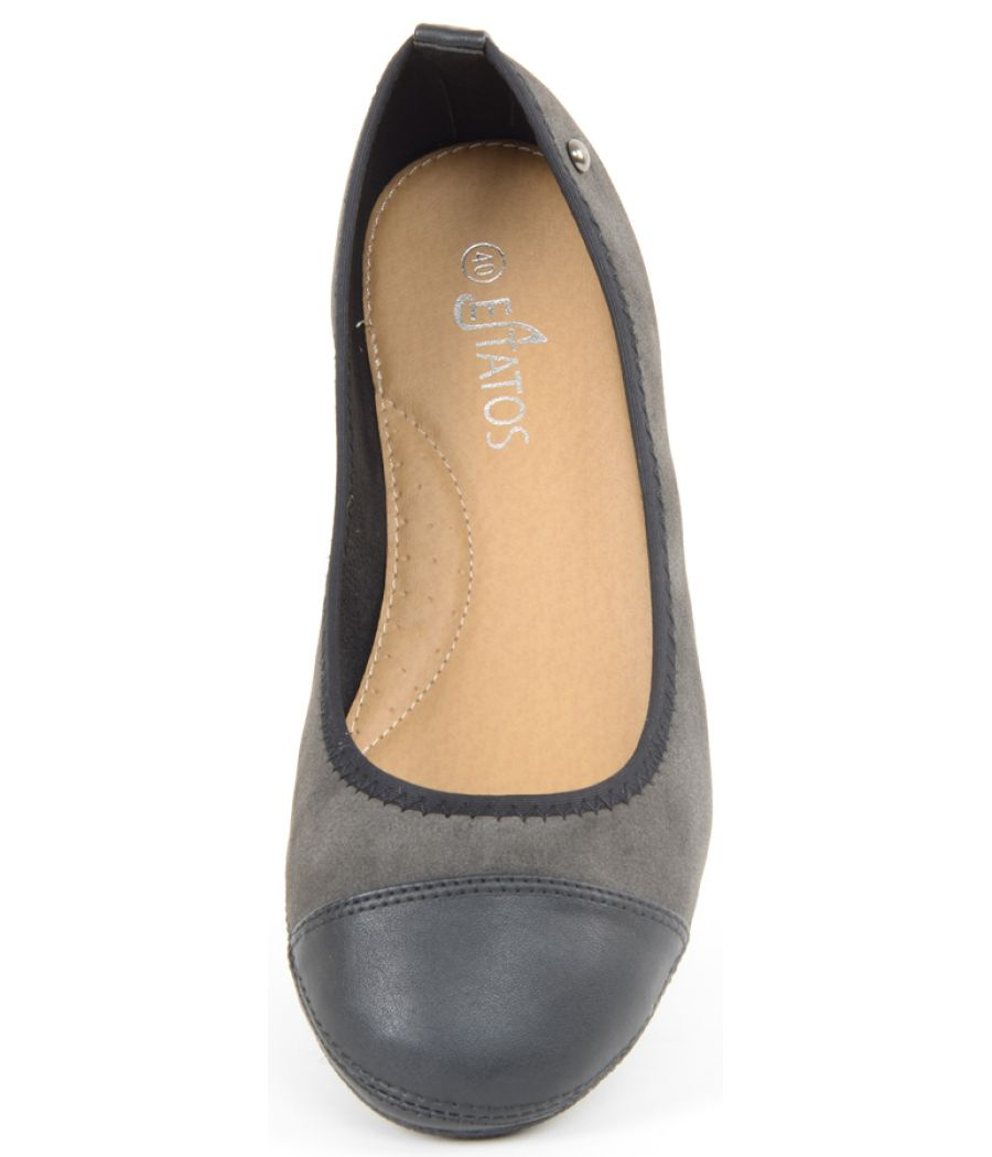 Estatos Faux Leather Walk cut tip design flat Black bellies/shoes