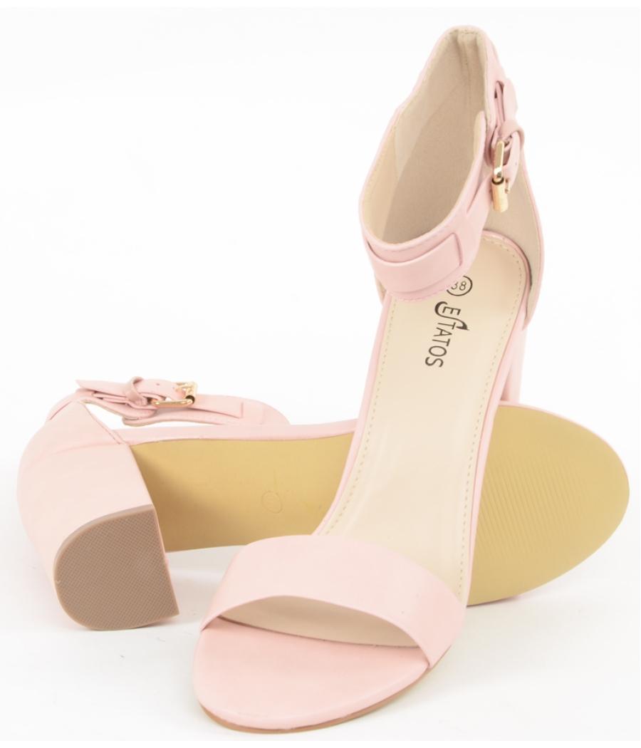Estatos Matte Leather Ankle Strap Block High Heeled Pink Sandals
