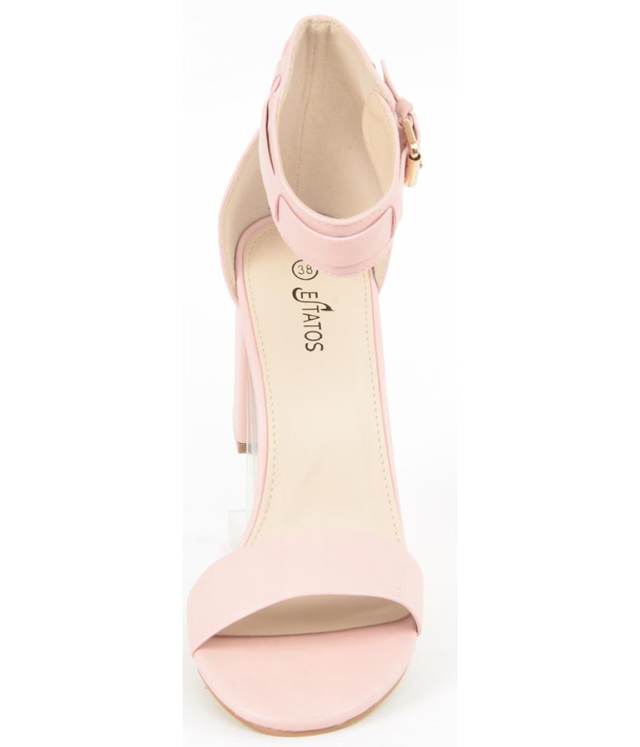 Estatos Matte Leather Ankle Strap Block High Heeled Pink Sandals ...