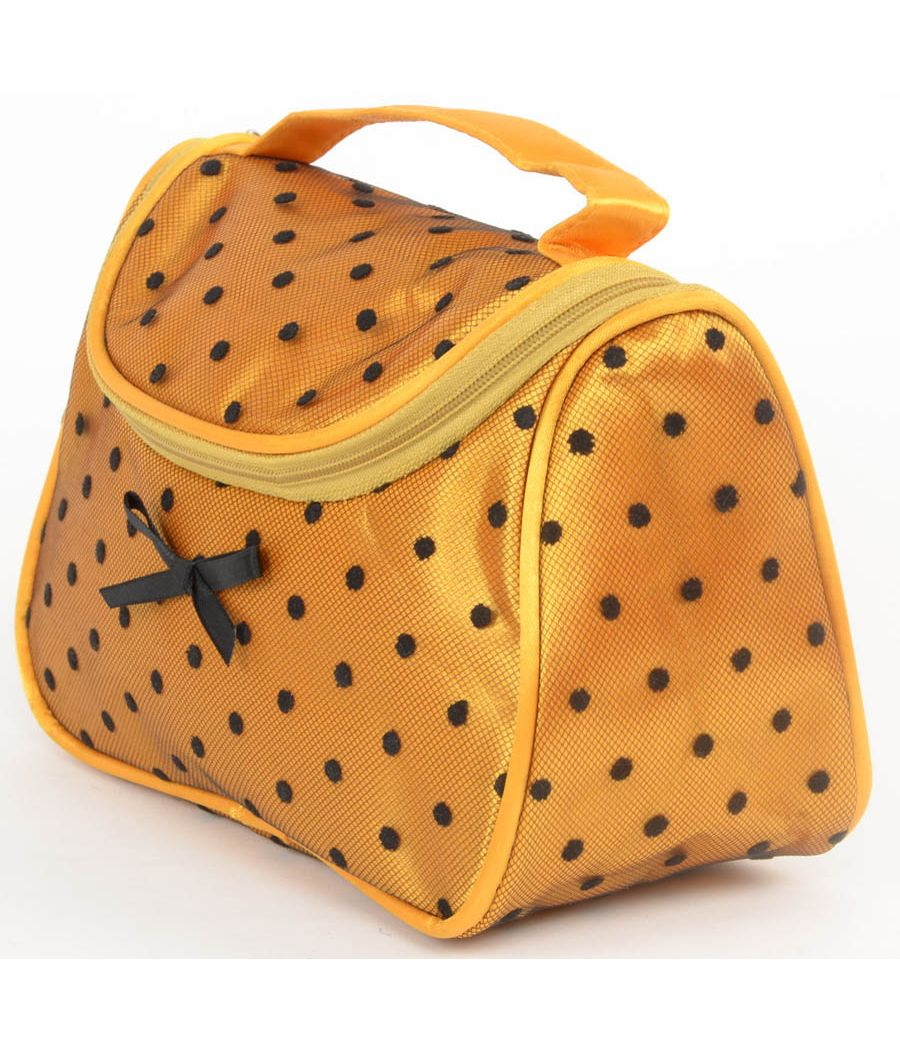 Aliado mustard Satin cosmetic/utility Bag/pouch with black net and polka dots