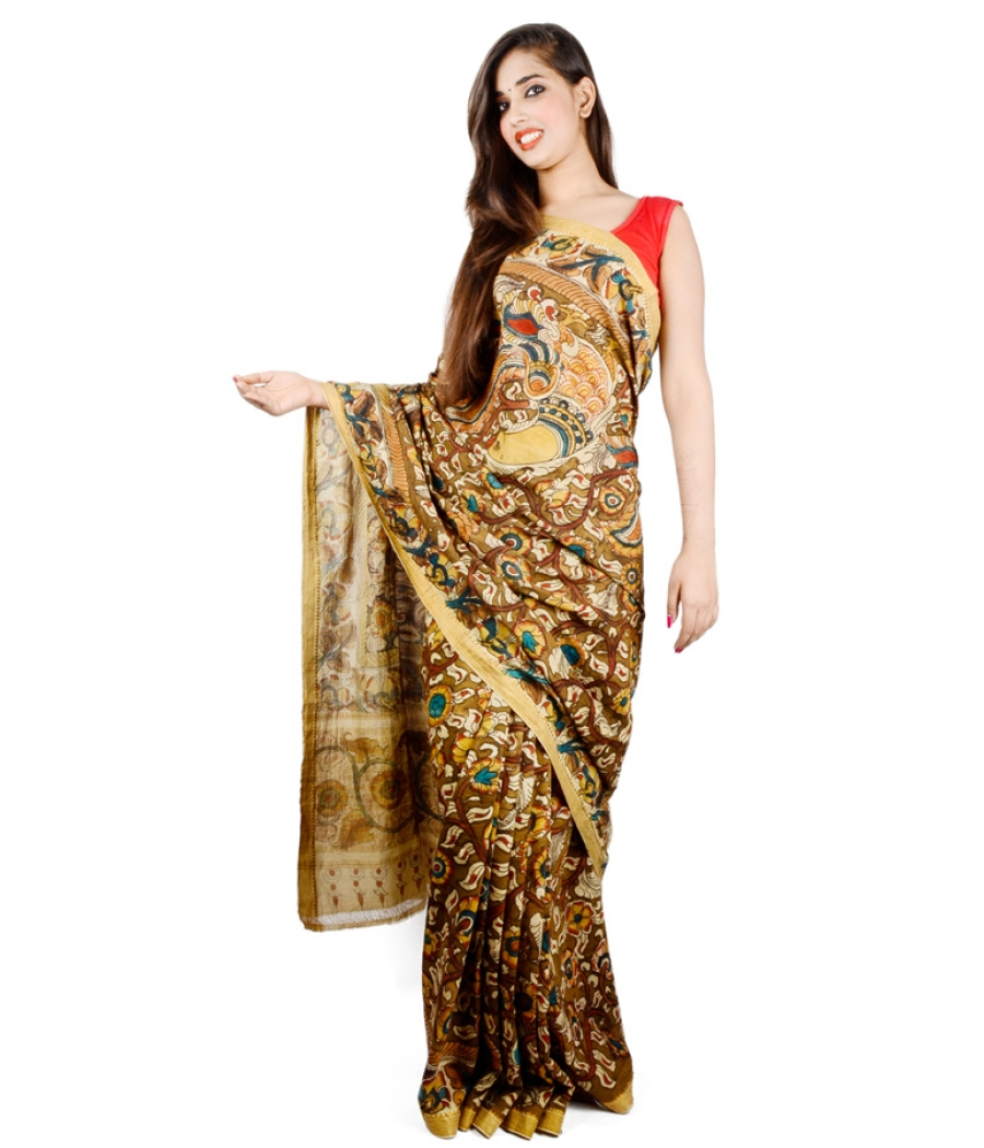Kalamkari Full Work Manglagiri Cotton Saree