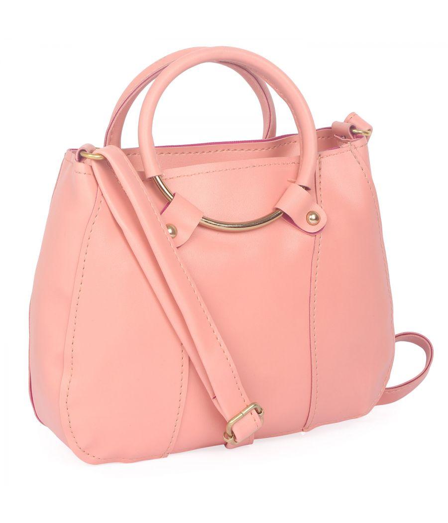 Aliado Pink Artificial Leather Zipper Closure Handbag