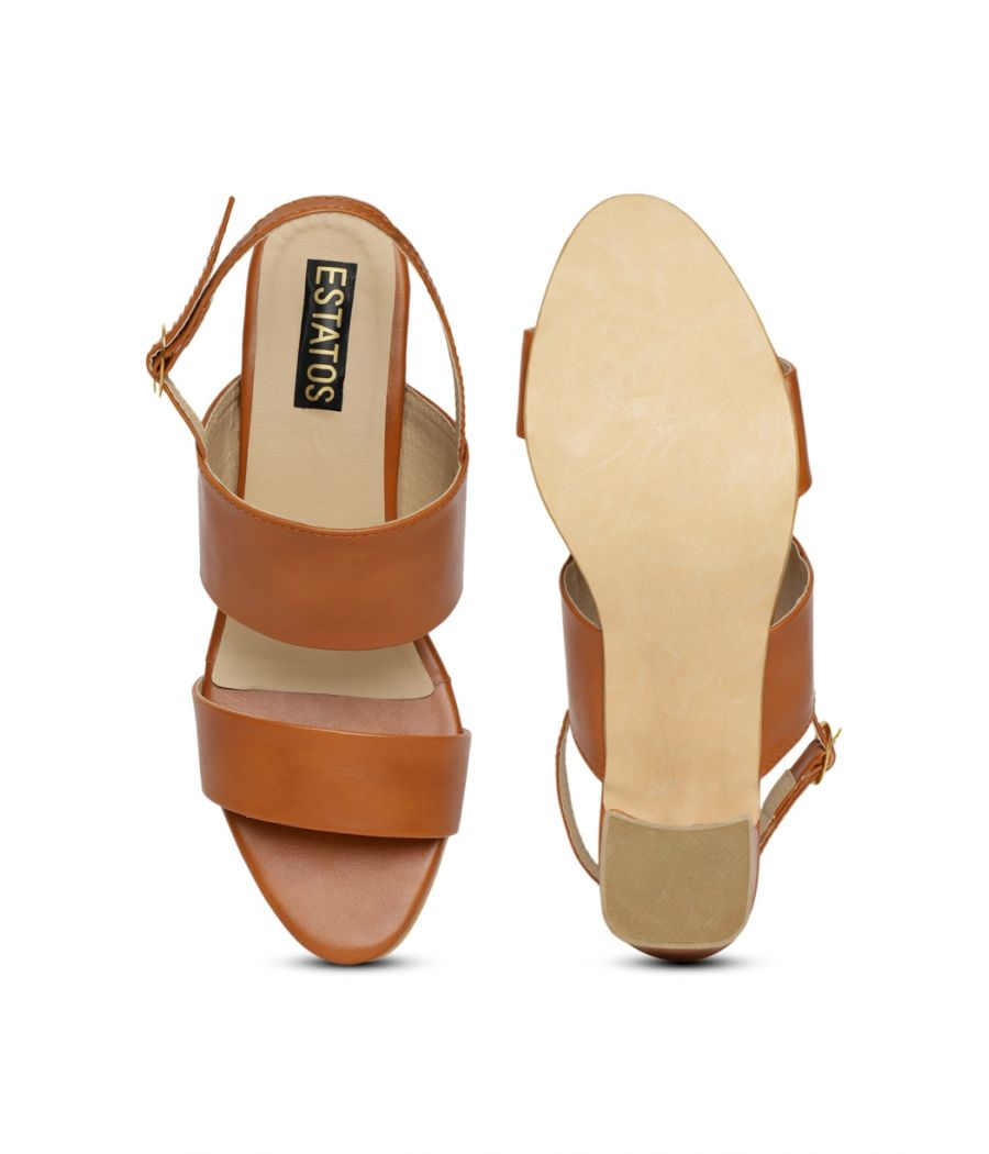 Estatos Brown Comfortable Block Heel Buckle Closure Sandals  for Women