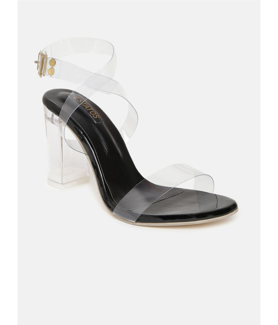 Estatos Leather Single Strap Block High Heeled White Sandals