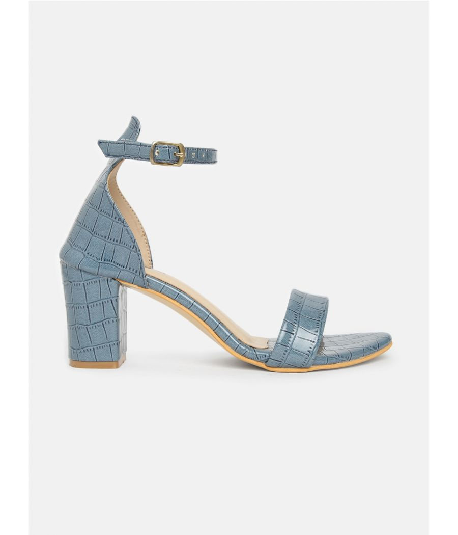Estatos Leather Ankle Strap Block High Heeled Navy Blue Sandals