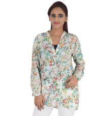 Zara Woman Viscose Floral Print Multi & White Full Sleeves Button Closure Casual Tunic