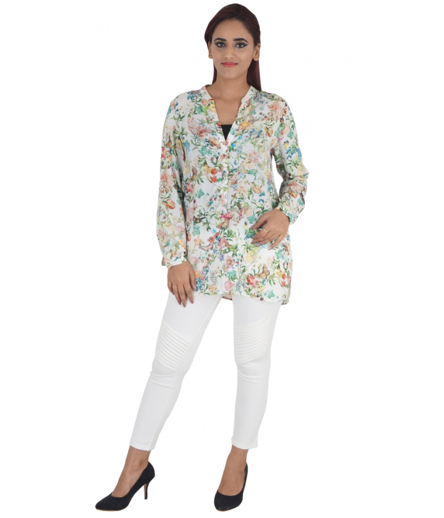 Zara Woman Viscose Floral Print Multi & White Full Sleeves Button Closure Casual Tunic