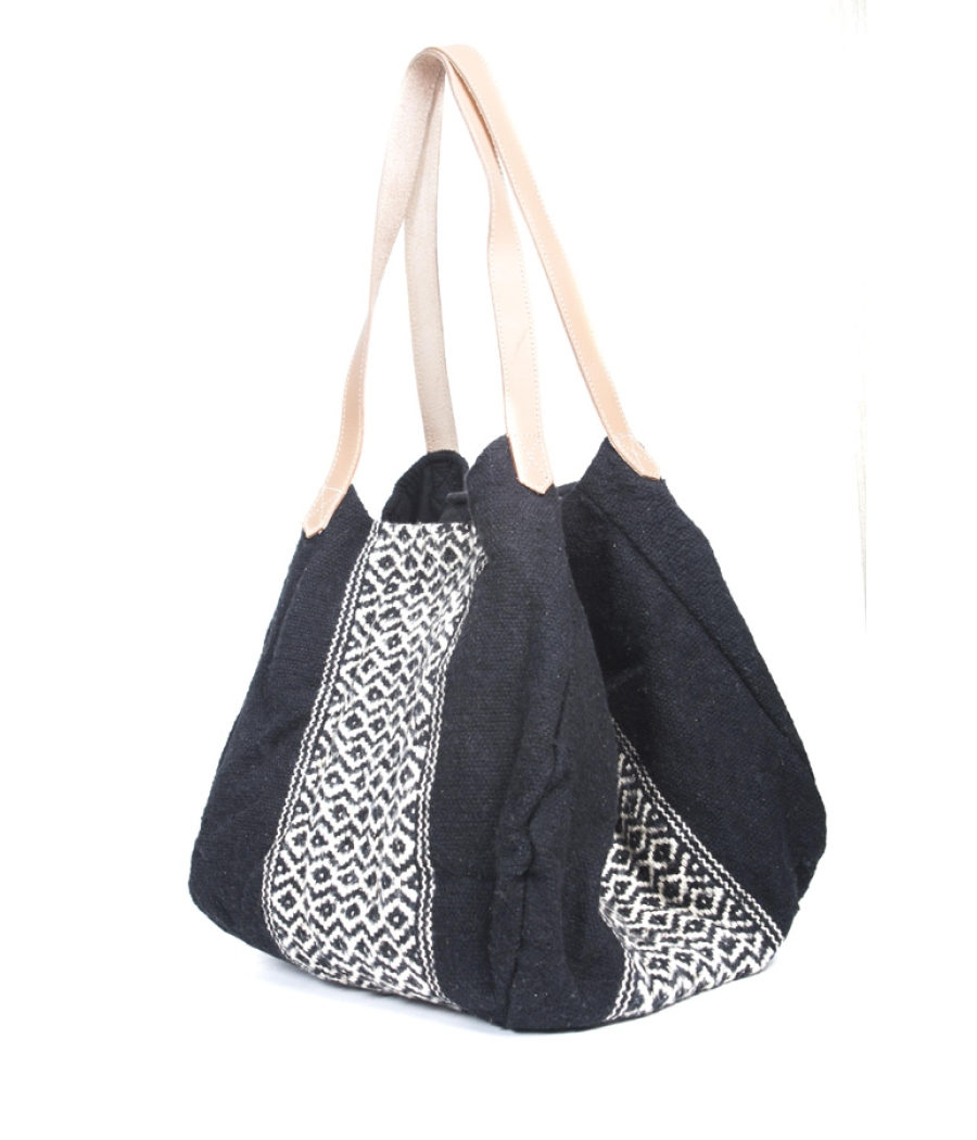 Black Handloom Jacquard Handbag