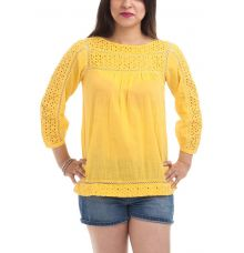 Cottonworld Cotton Plain Solid Mustard Puff Sleeve Boat Neck Button Closure Lace Embellishment Casual Top