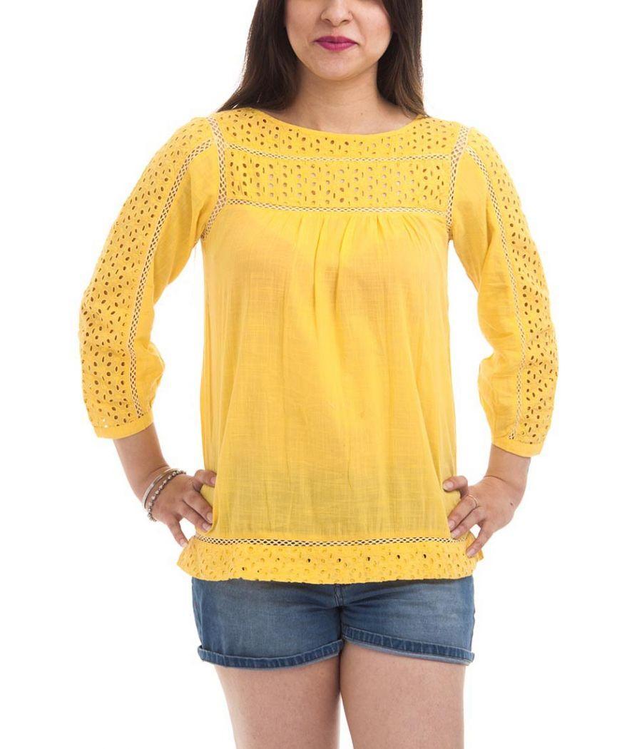 Cottonworld Cotton Plain Solid Mustard Puff Sleeve Boat Neck Button Closure Lace Embellishment Casual Top