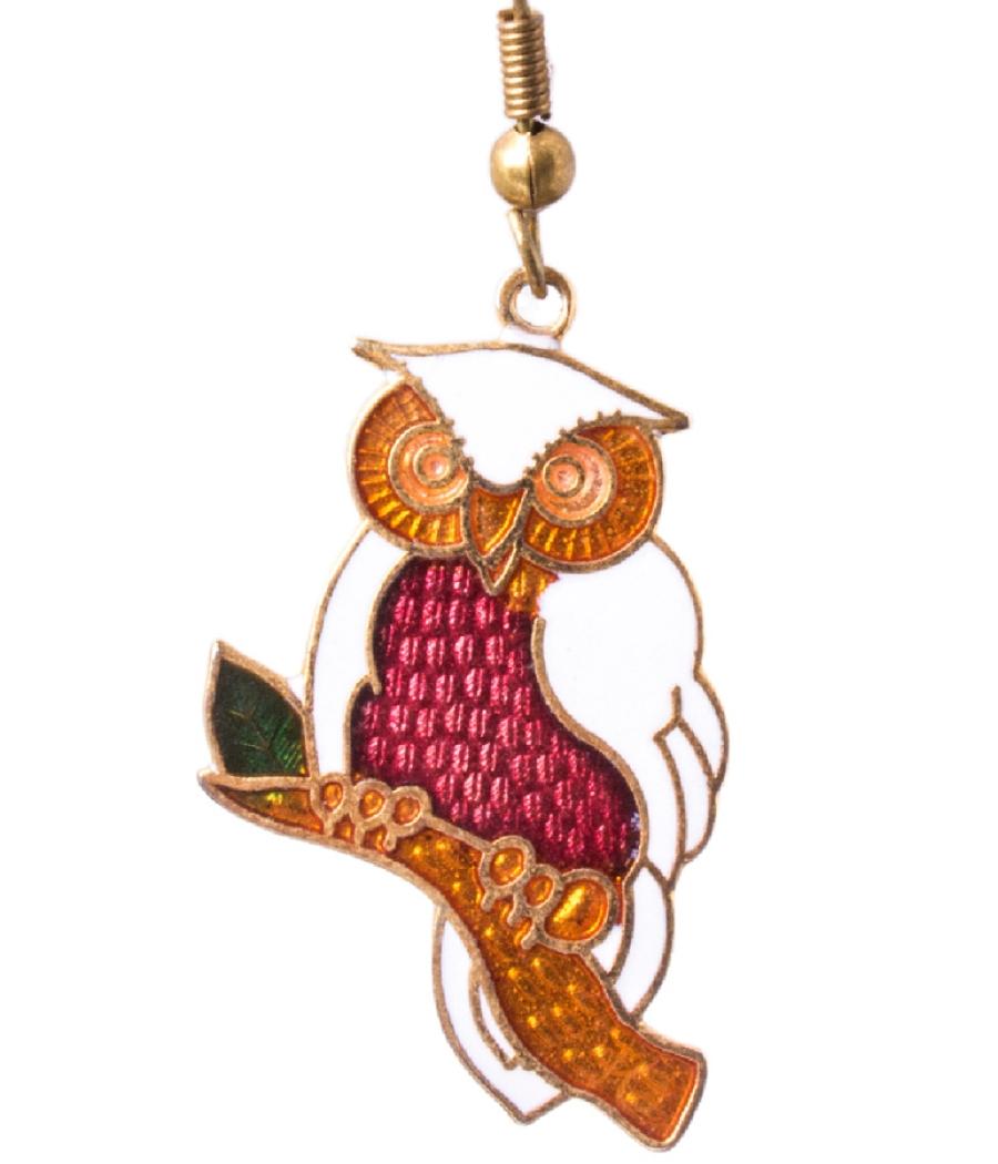 Cloisonne Owl Earring