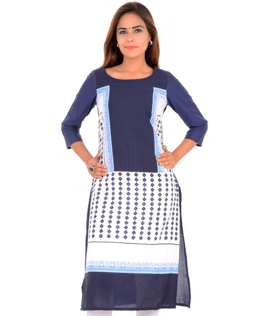 W Cotton Abstract Printed White/Blue Kurti