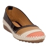 KC Synthetic Leather Black & Cream Broad Toe Flat Bellies