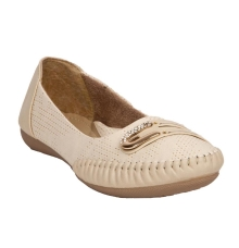 GMF Synthetic Leather Cream Colour Broad Toe Flat Bellies