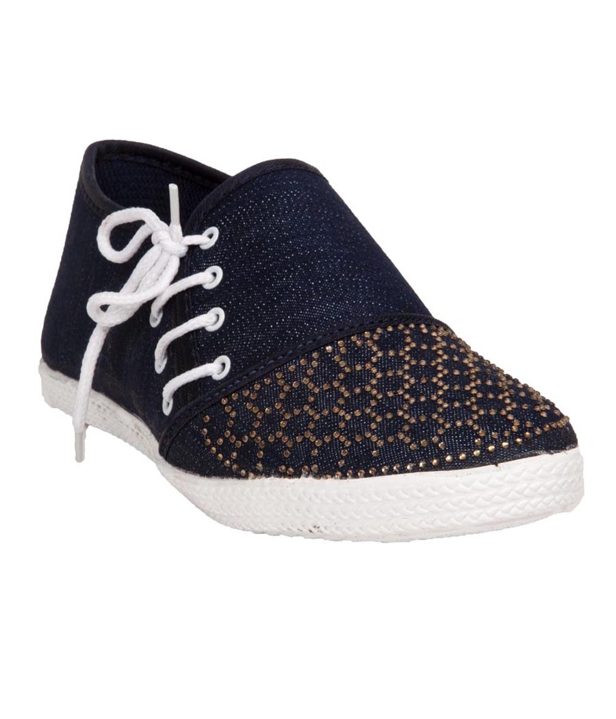 Rudra Collection Denim Navy Blue Flat Heel Casual Sneakers