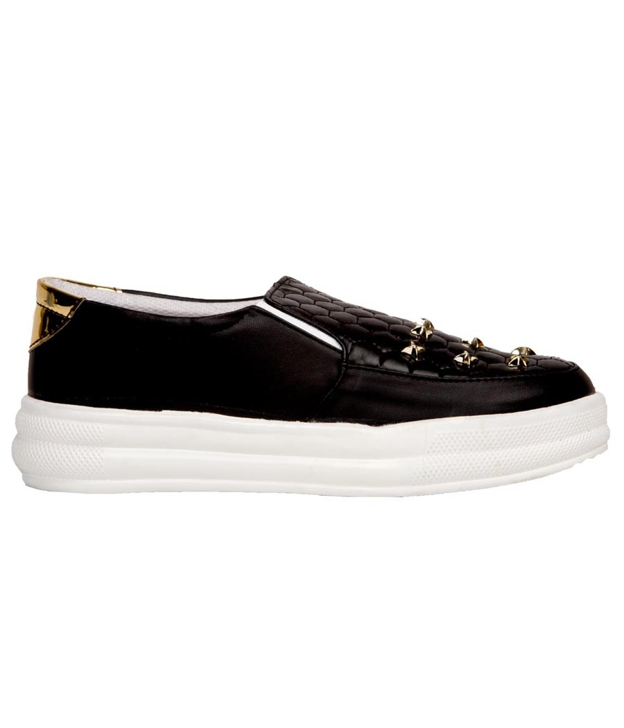 SLN Synthetic Leather Black Platform Heel Casual Sneakers