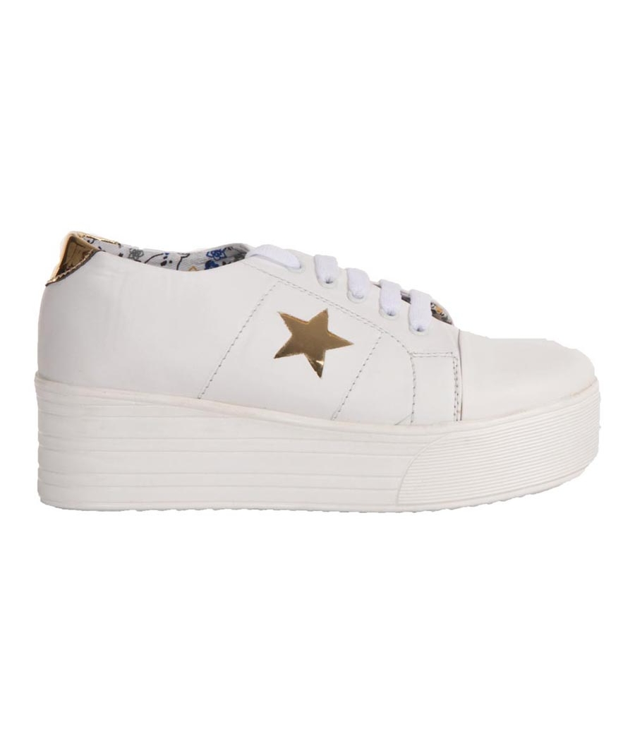 MCS Synthetic Leather White Lace Closure Broad Toe Platform Sneakers