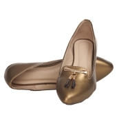 Avidev Synthetic Leather Bronze Broad Toe Flat Party Bellies