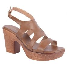 Estatos Synthetic Leather Twin  Strap Block High Heeled                Brown Sandals