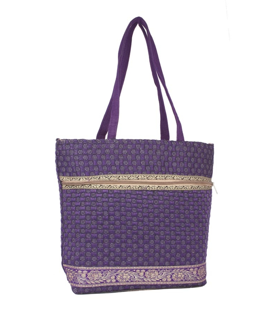 Aliado Jute Purple  Coloured Zipper Closure Bag