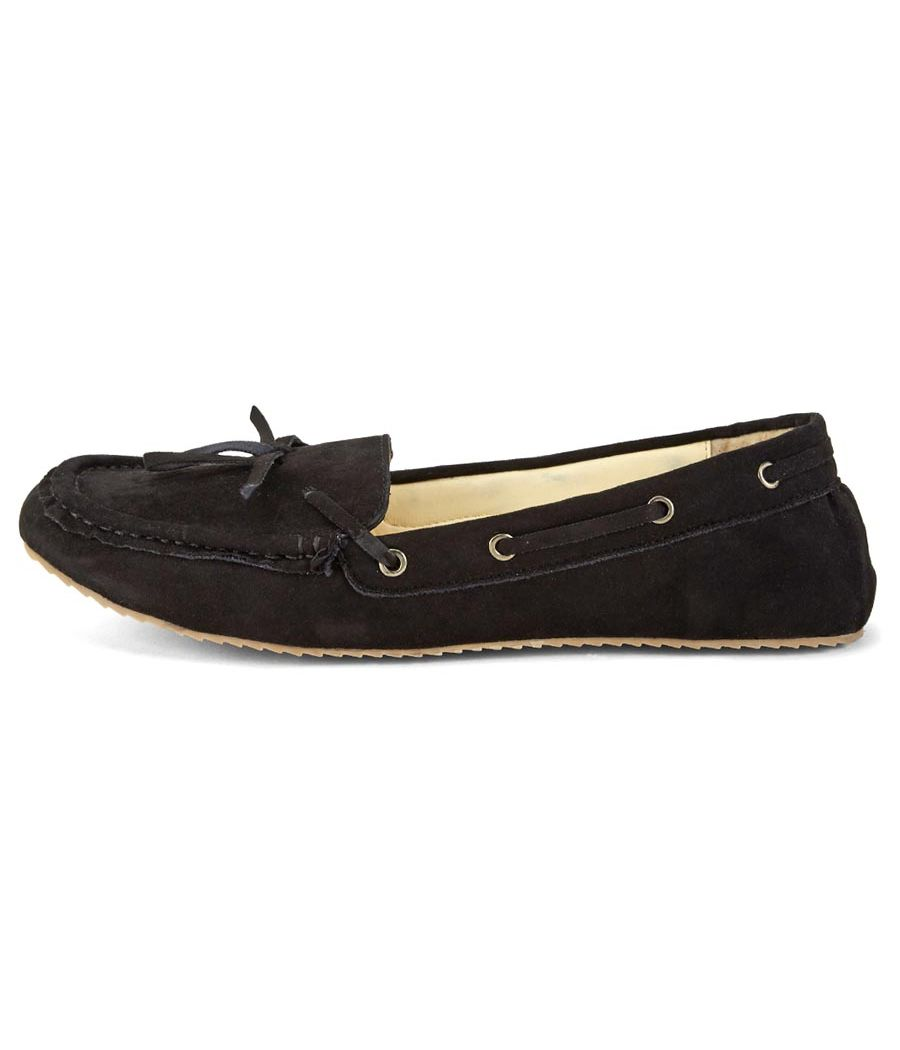 Estatos Synthetic Leather Broad Toe Comfortable Black Loafers for Women