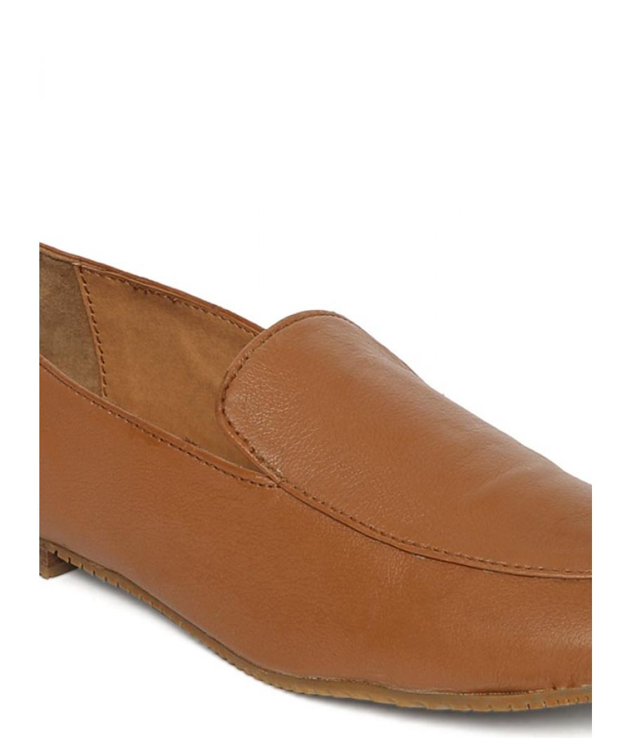 Estatos Broad Toe Brown Comfortable Flat Slip On Loafers for Women