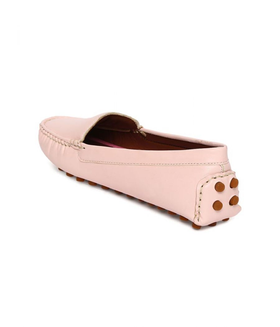 Estatos Broad Toe Pink Comfortable Flat Slip On Loafers for Women