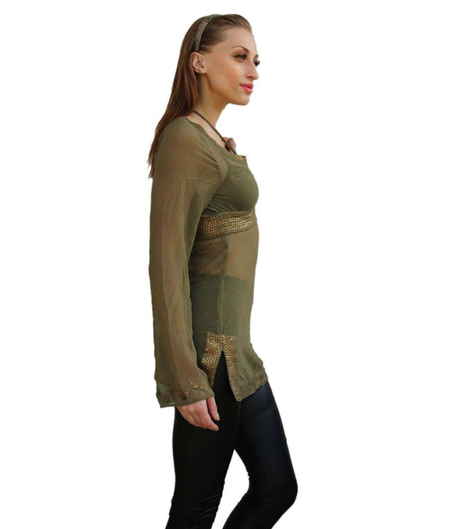 Green/Golden Sequin Top