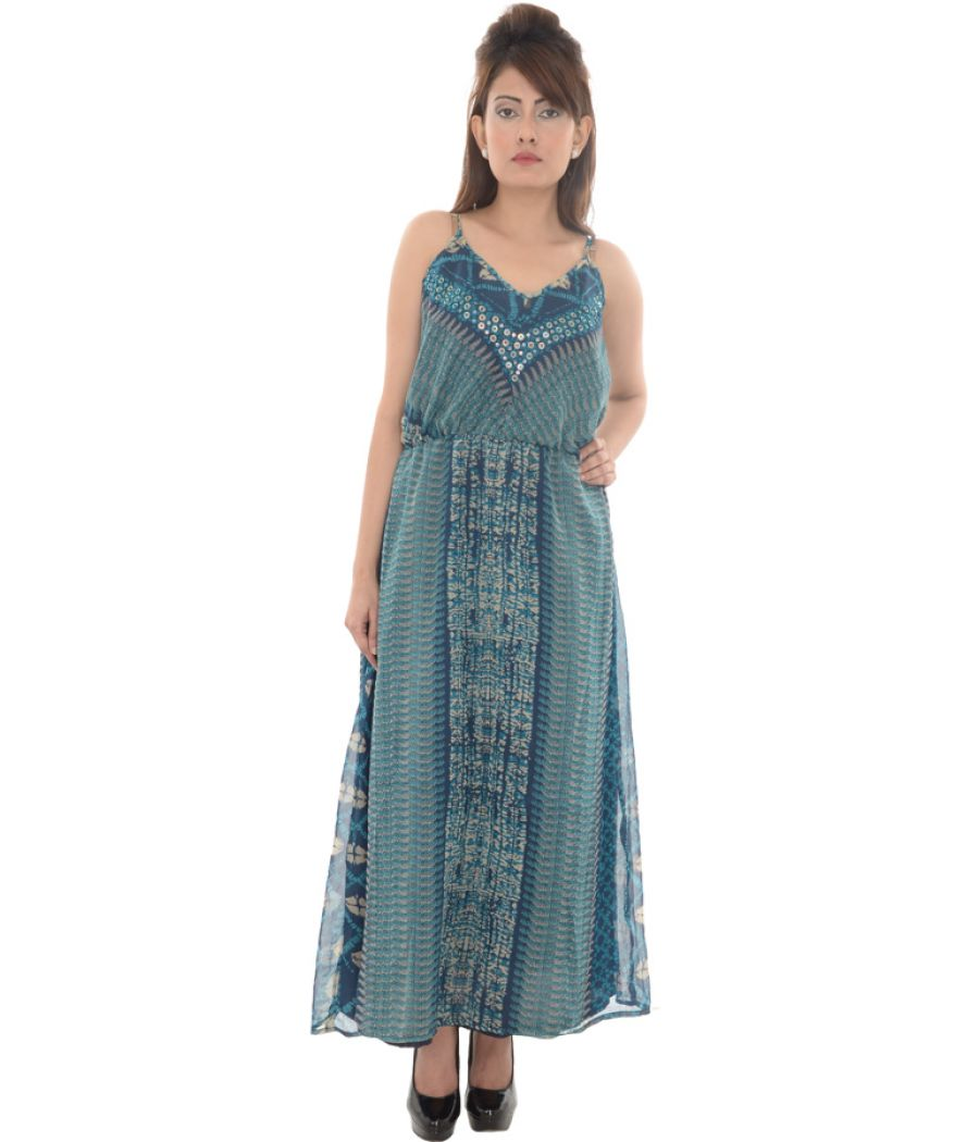 Tissu Georgette Sequined Maxi Dress