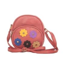Envie Faux Leather Embellished Pink Zipper Crossbody Bag