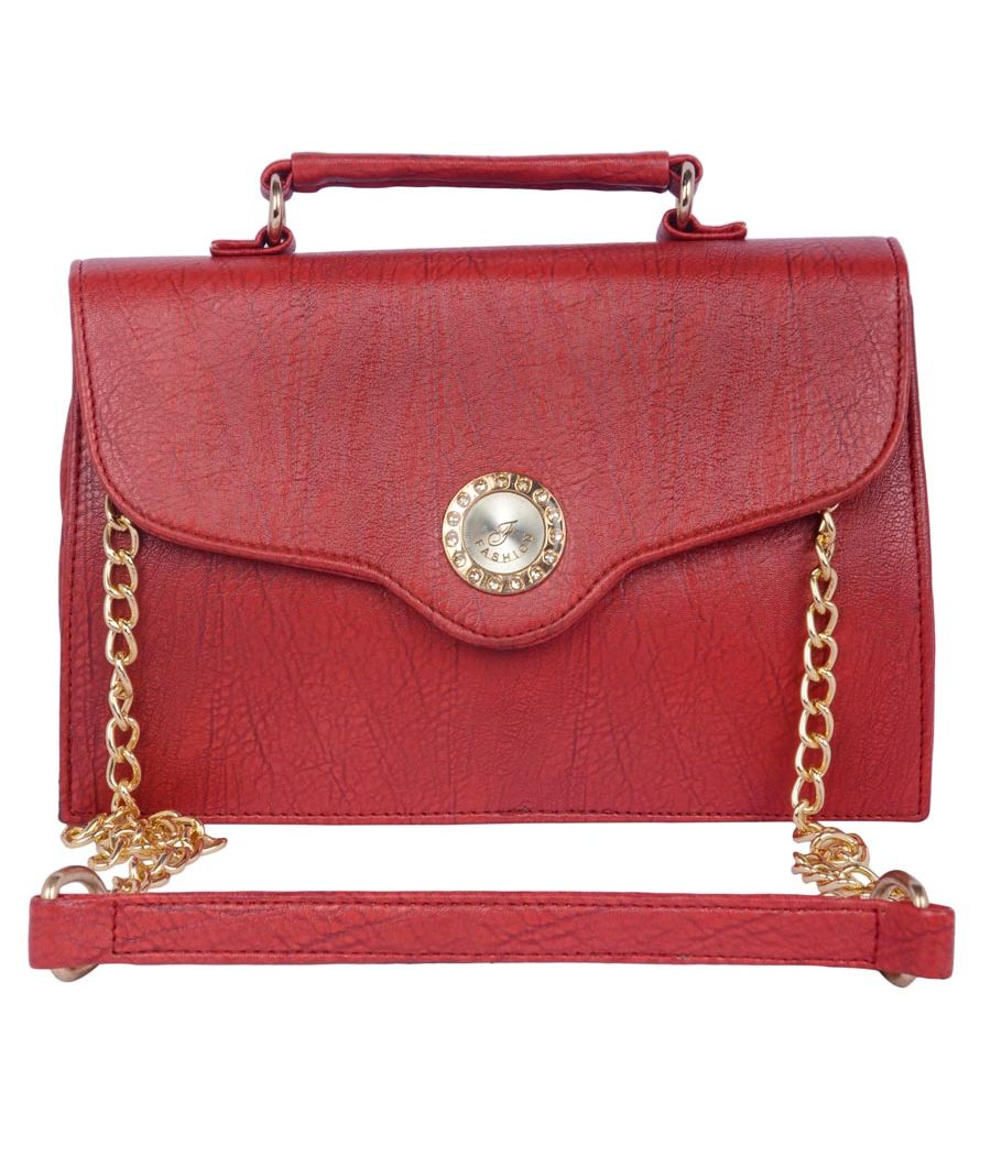 Aliado Faux Leather Maroon Magnetic Snap Closure Sling Bag
